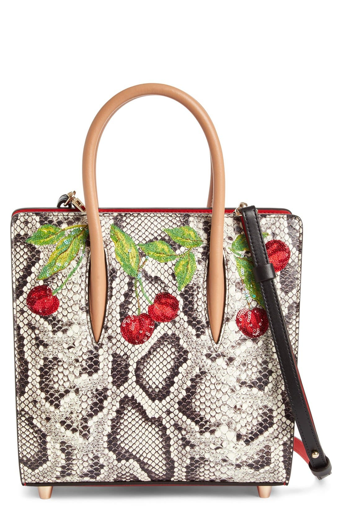 Alternate Image 1 Selected - Christian Louboutin Small Paloma Embellished Genuine Snakeskin Tote