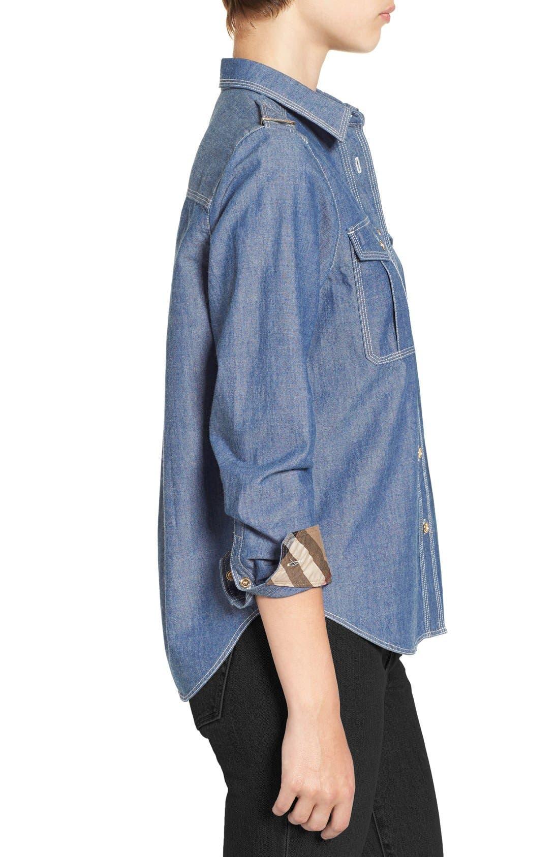 Alternate Image 5  - Burberry Check Cuff Denim Shirt