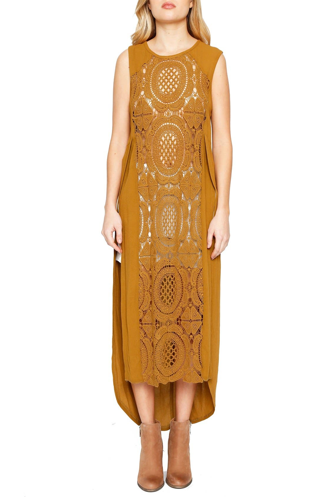 Alternate Image 1 Selected - Willow & Clay Sleeveless Crochet Front Tunic Dress