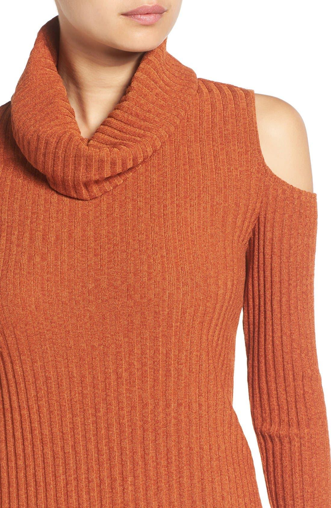 Alternate Image 5  - Socialite Cold Shoulder Rib Knit Dress