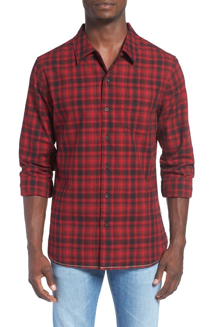 Surfside supply trim fit plaid flannel sport shirt nordstrom for Trim fit flannel shirts