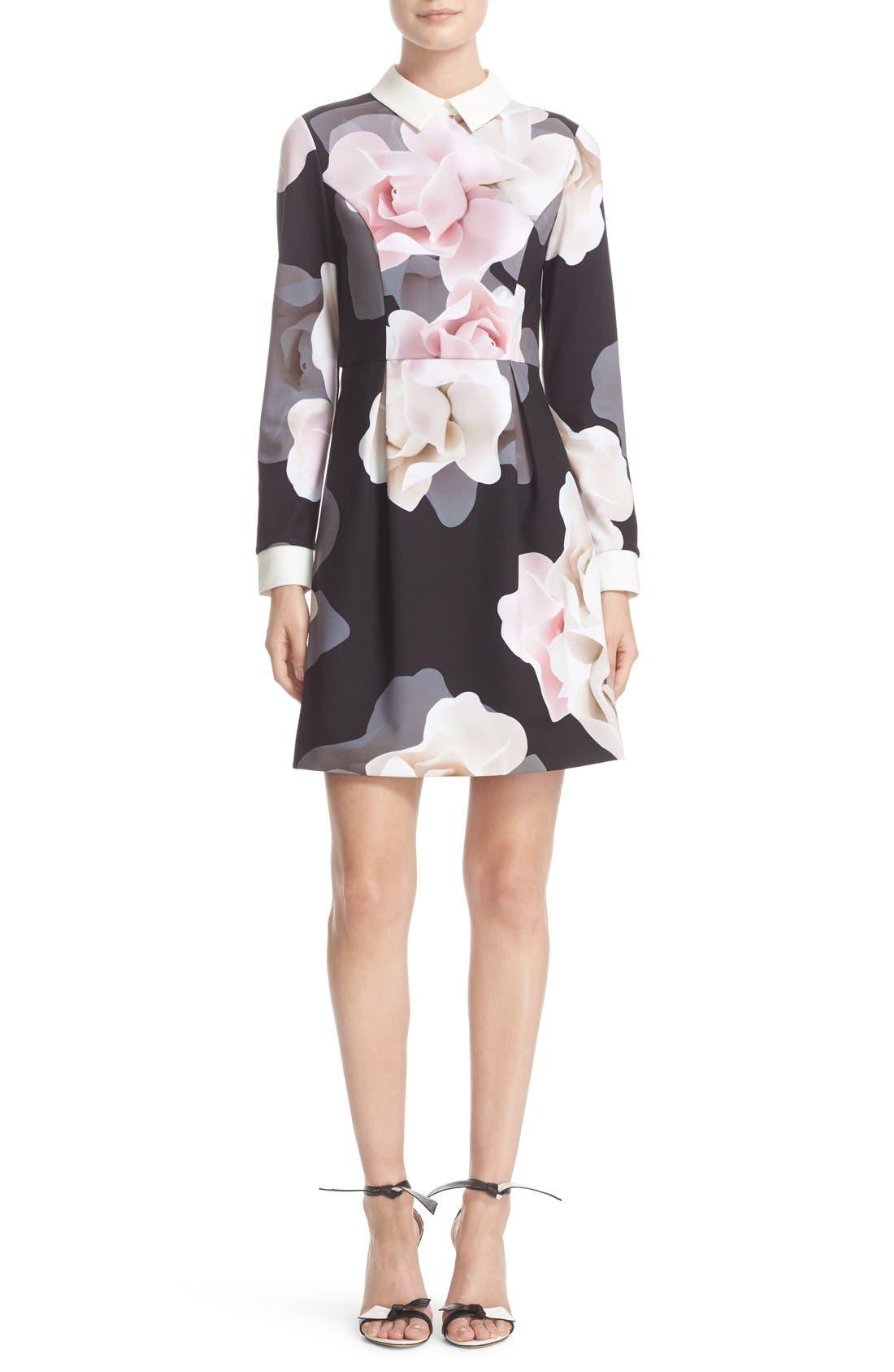 Main Image - Ted Baker London Porcelain Rose Print Contrast Trim Fit & Flare Dress