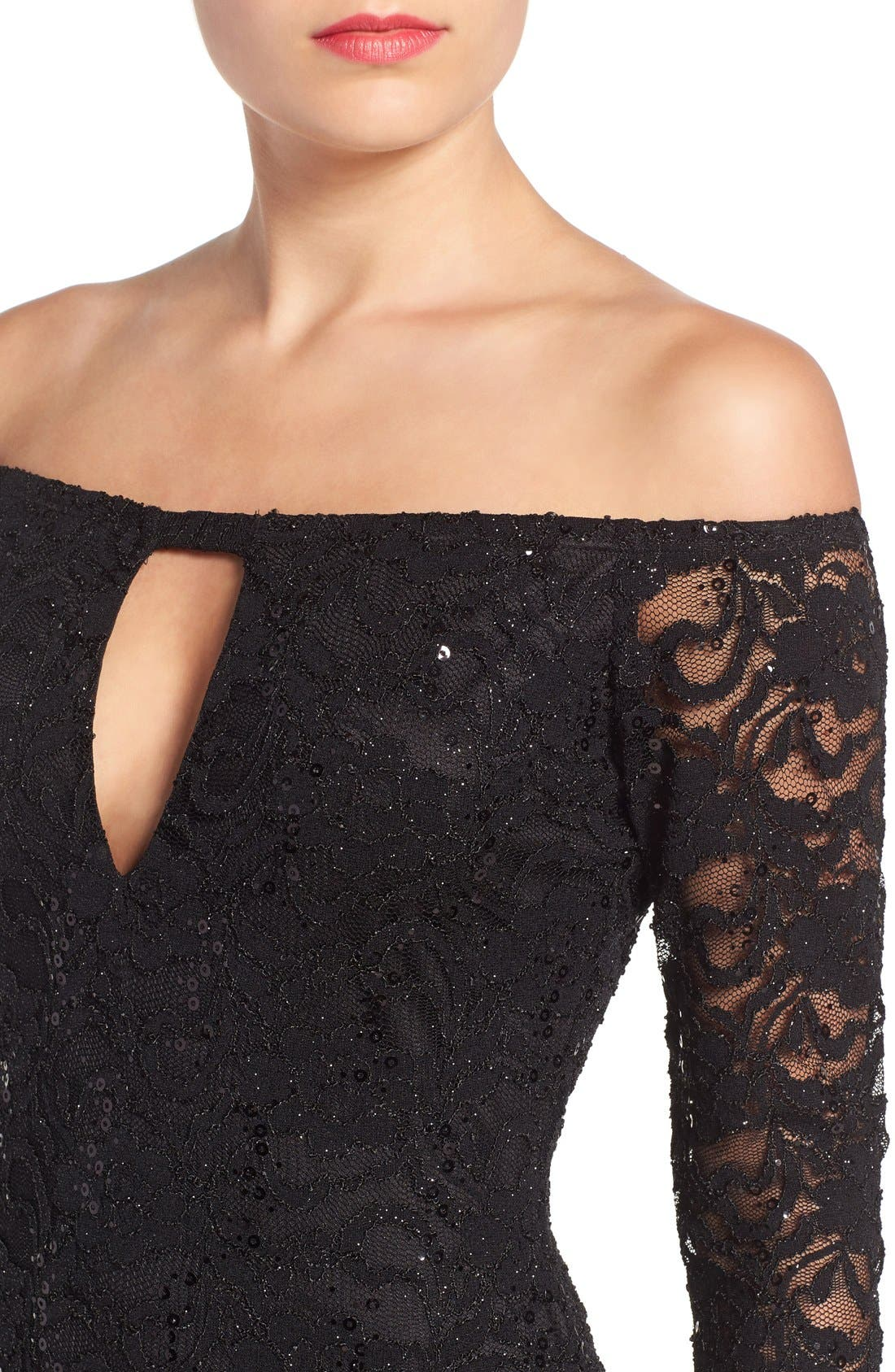 Alternate Image 4  - Jump Apparel Lace Off the Shoulder Body-Con Dress