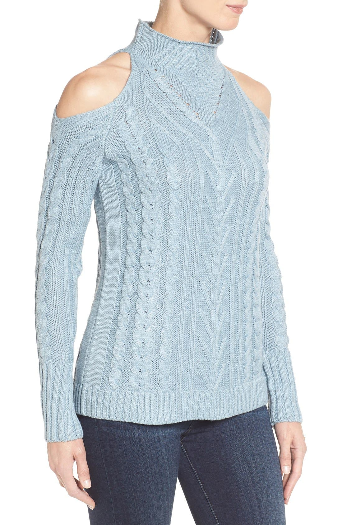 Alternate Image 3  - RD Style Cold Shoulder Cable Knit Sweater