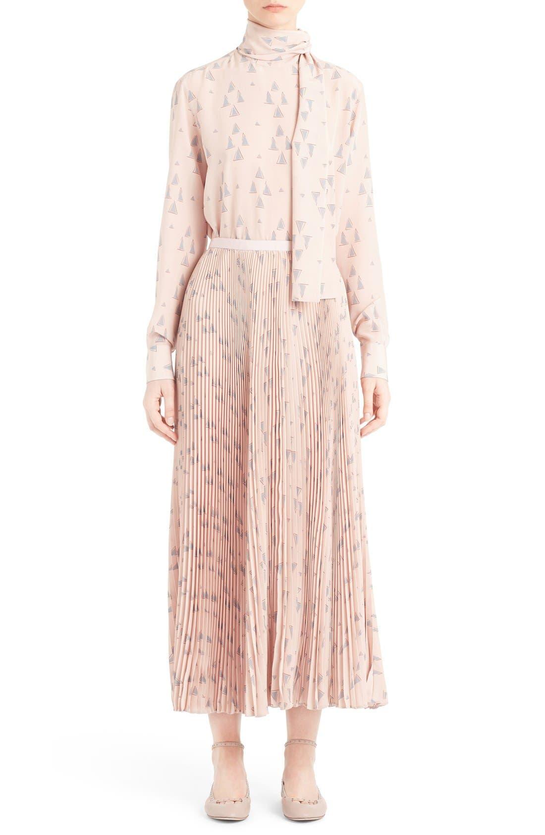 Alternate Image 6  - Valentino 'Cascade Triangle' Print Plissé Maxi Skirt