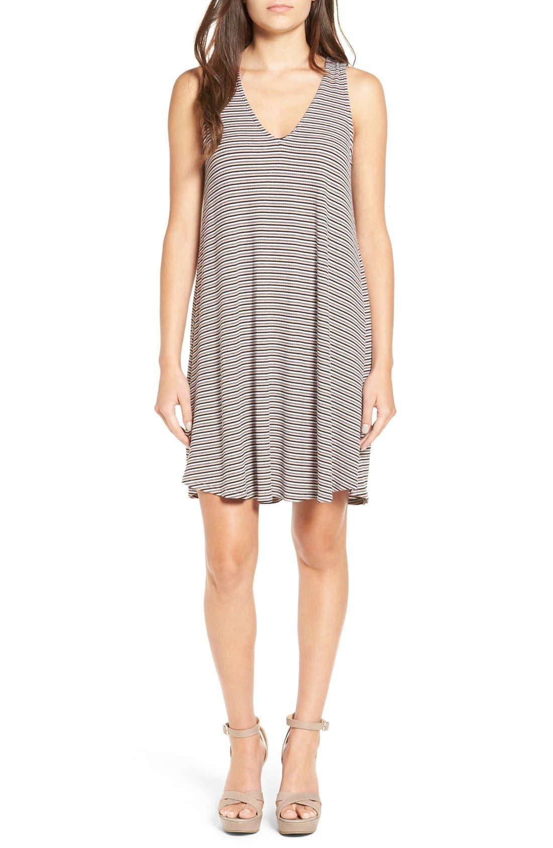 Alternate Image 1 Selected - dee elle Stripe Rib Knit Swing Dress