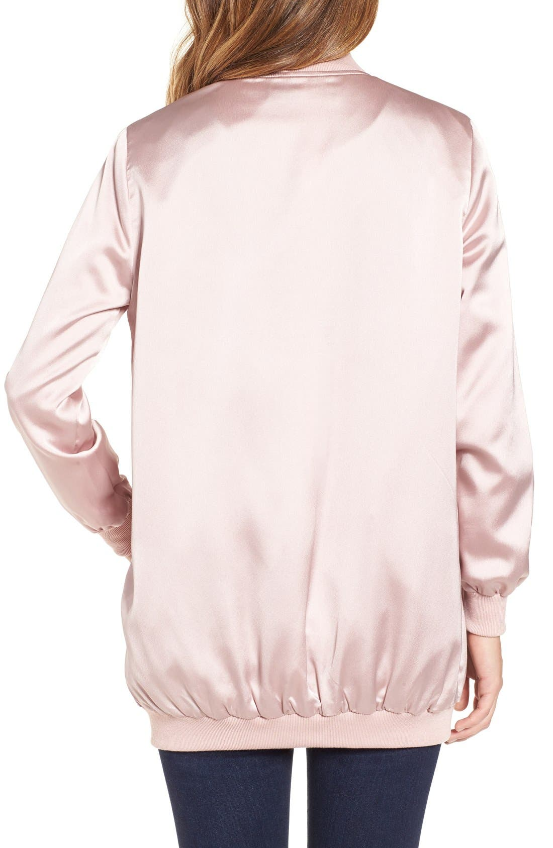 Alternate Image 2  - Missguided Satin Longline Bomber Jacket