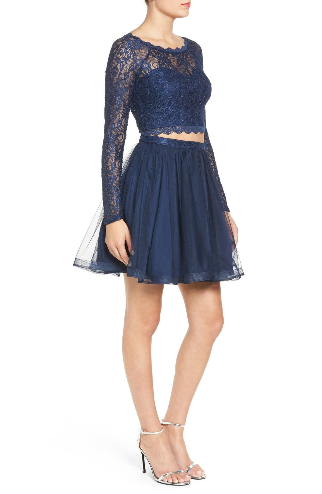 Alternate Image 3  - Sequin Hearts Long Sleeve Lace Two-Piece Skater Dress