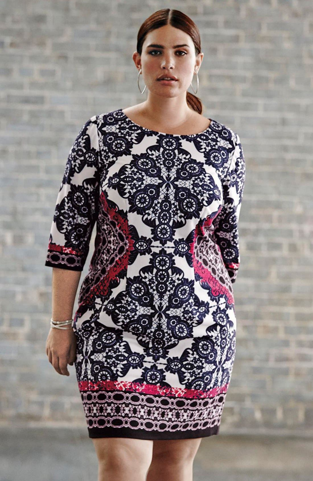 Alternate Image 2  - Eliza J Geo Print Ponte Sheath Dress (Plus Size)