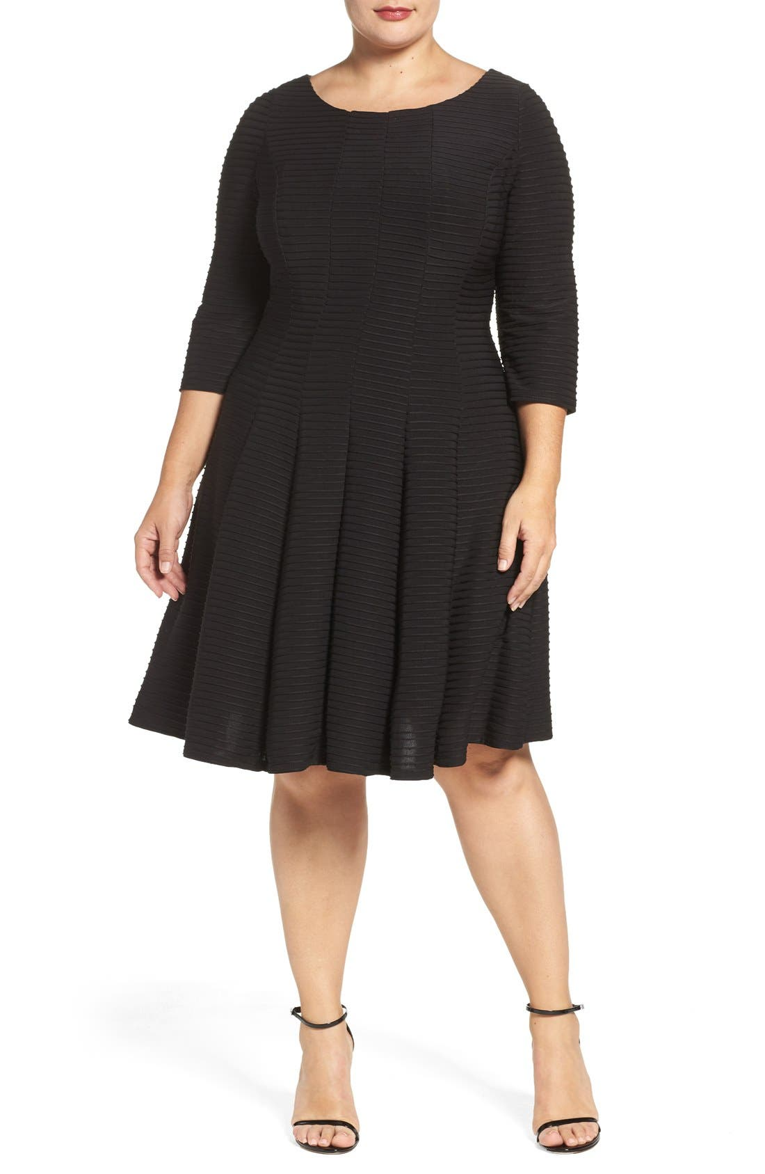 Alternate Image 4  - Gabby Skye Pintuck Knit Fit & Flare Dress (Plus Size)