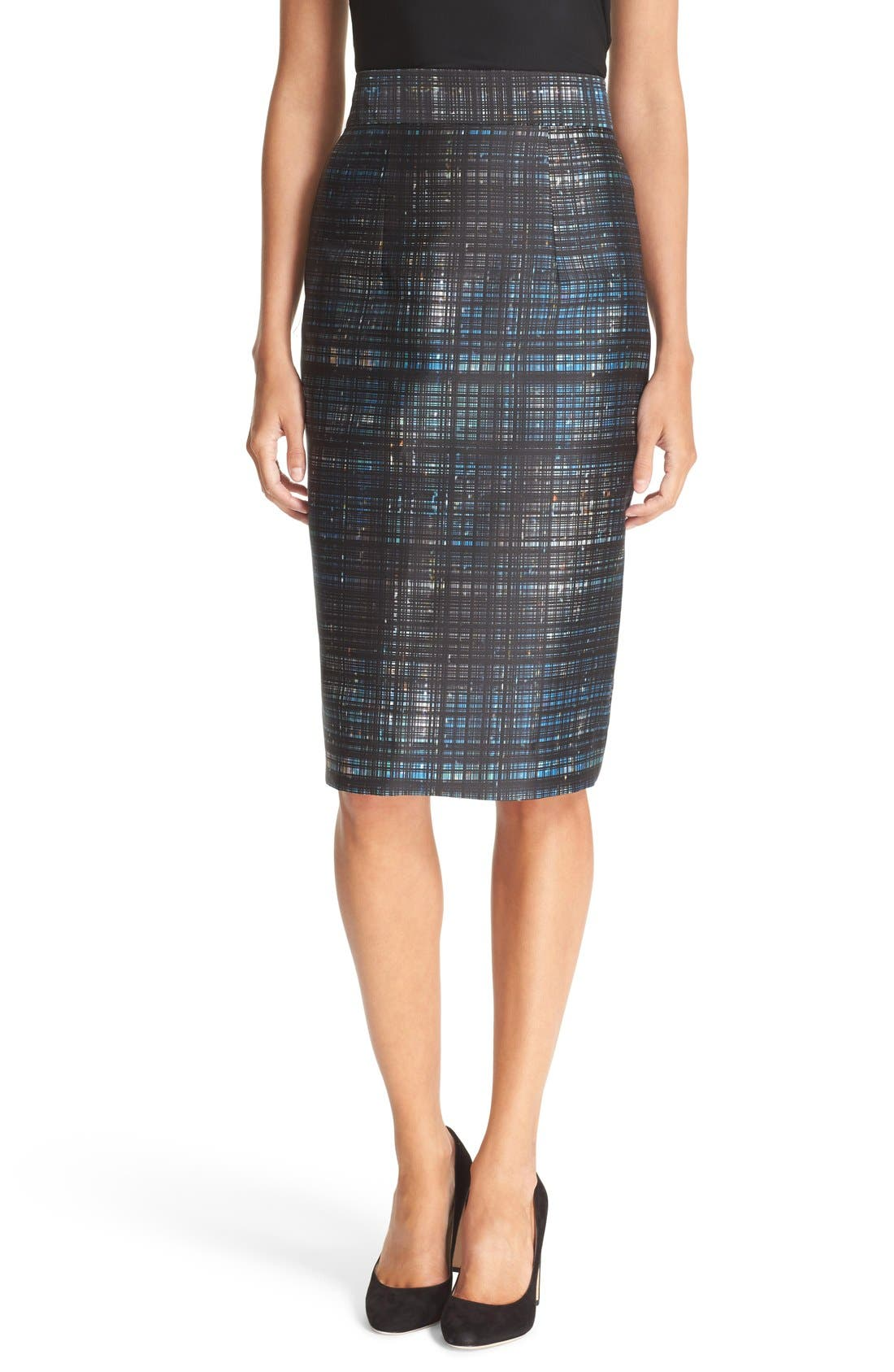 Main Image - Milly Confetti Check Pencil Skirt