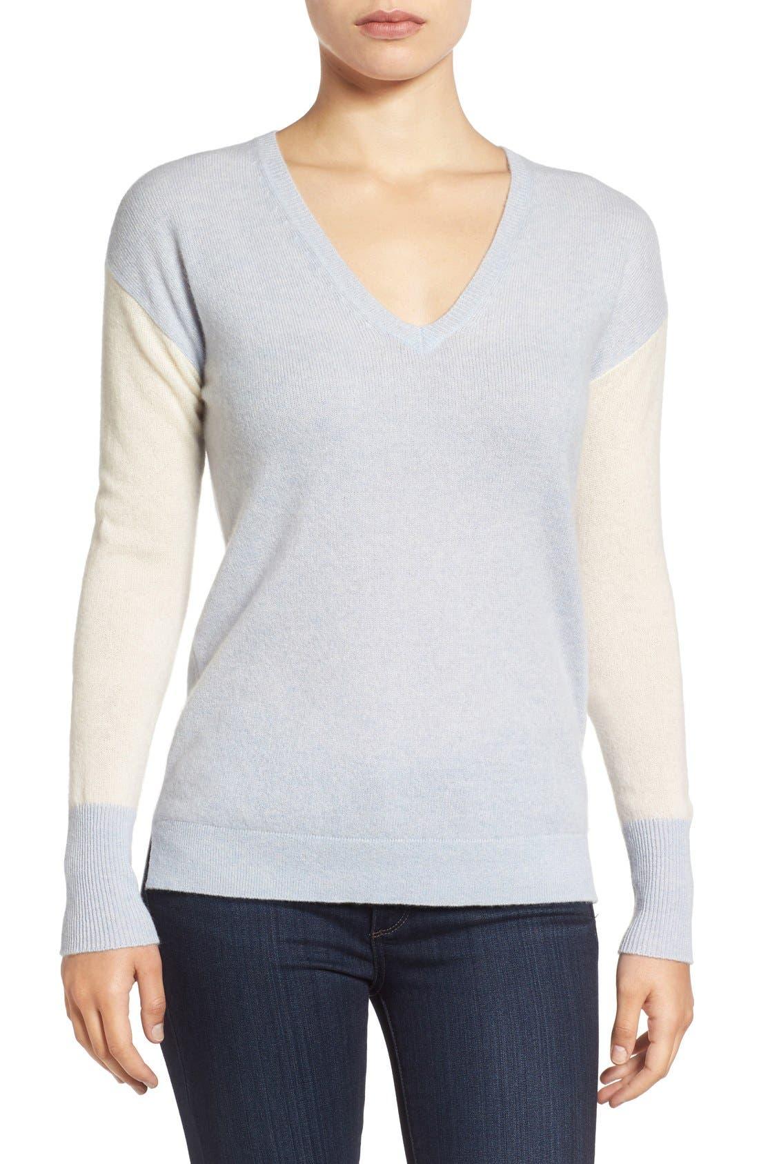 Alternate Image 1 Selected - Halogen® Cashmere V-Neck Sweater (Regular & Petite)