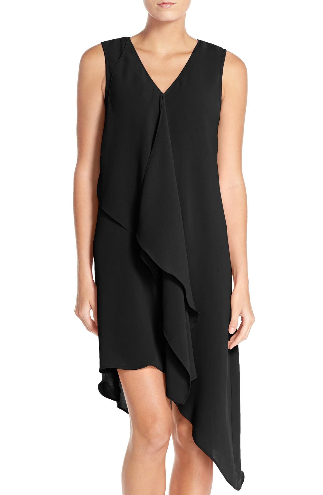 ADRIANNA PAPELL Ruffle Front Crepe High/Low Dress