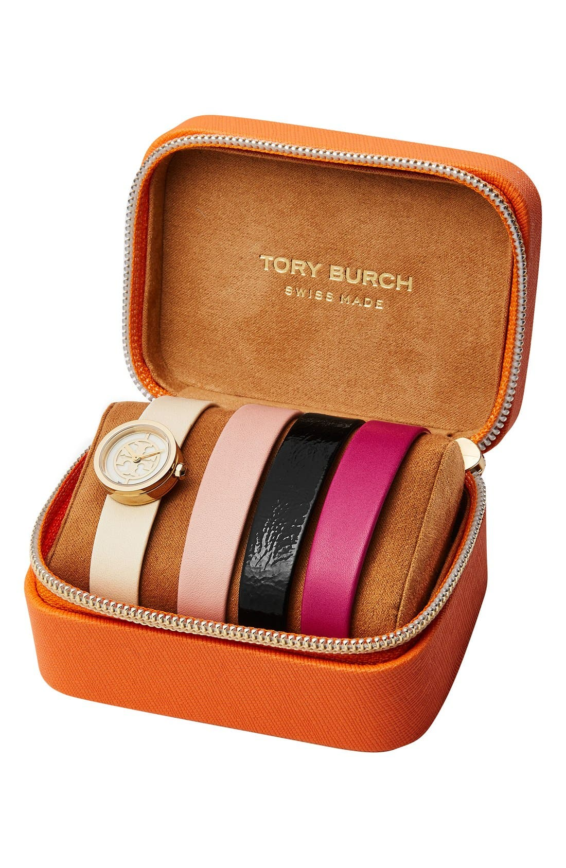 Alternate Image 2  - Tory Burch 'Reva' Leather Strap Watch Set, 20mm