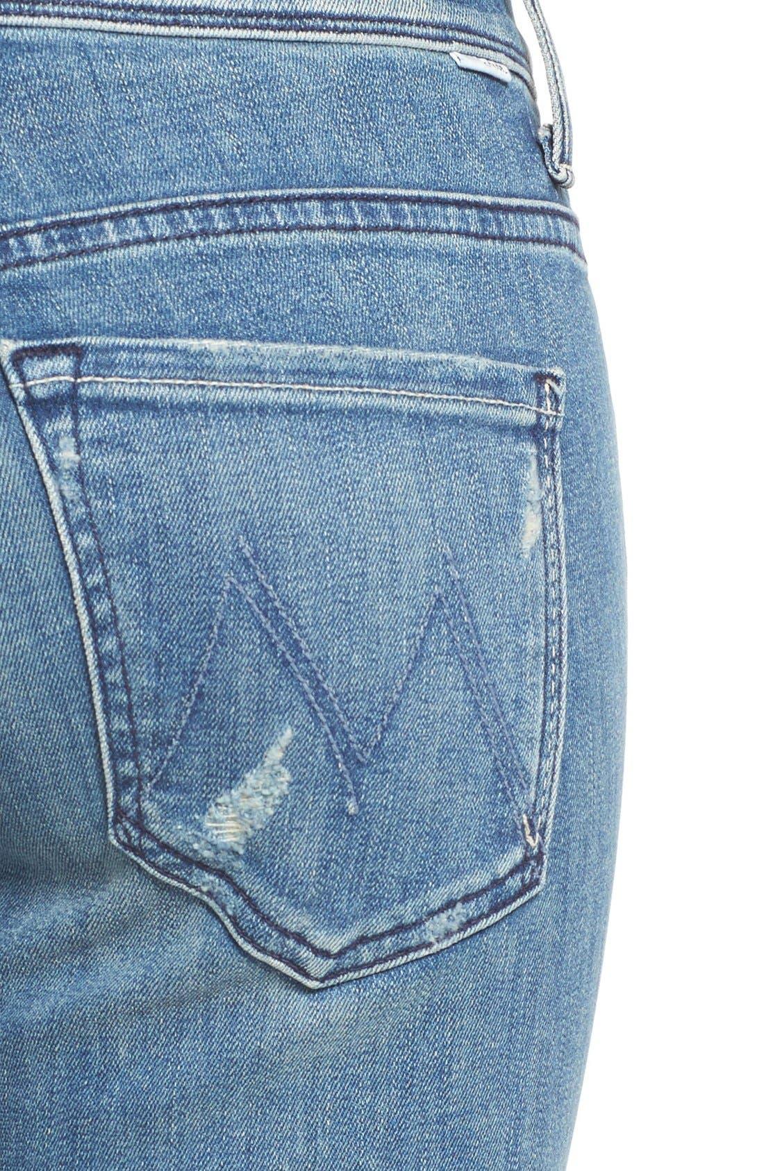 Alternate Image 4  - MOTHER Raw Hem Flare Jeans (Graffiti Girl)