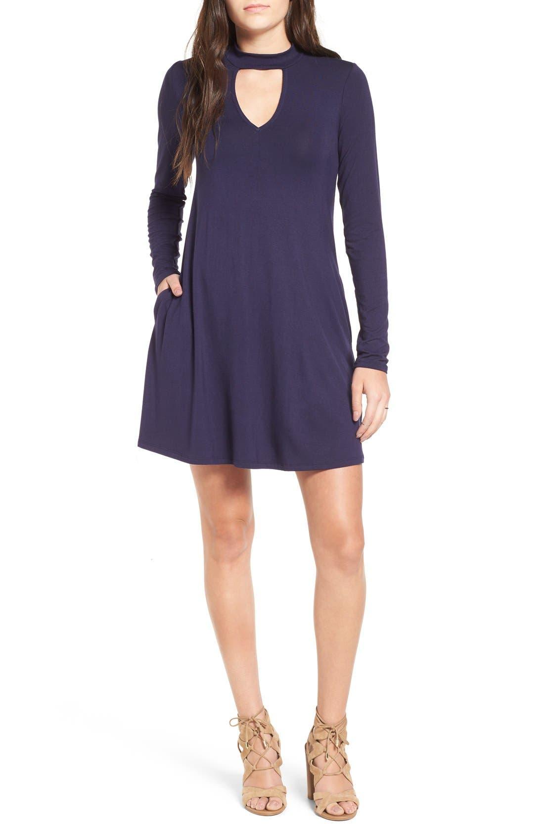 Main Image - Socialite Mock Neck Knit Shift Dress