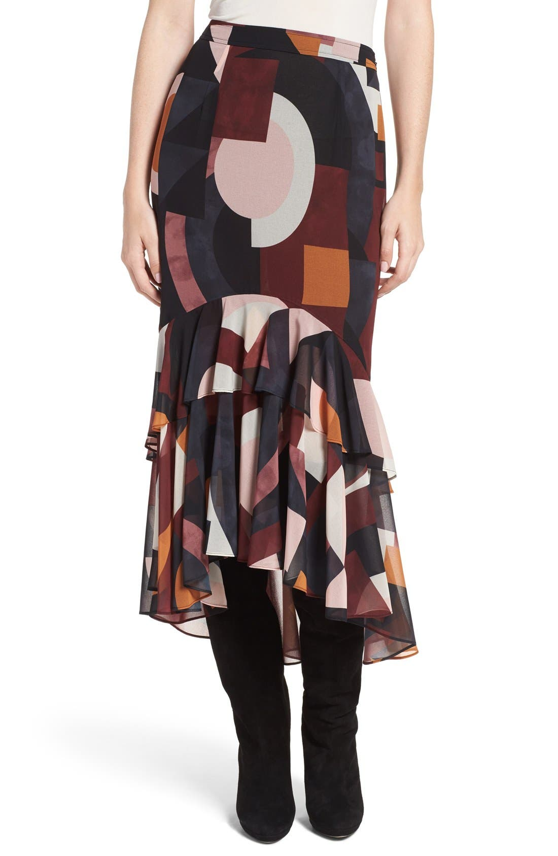 Main Image - Olivia Palermo + Chelsea28 Tiered Crepe High/Low Skirt