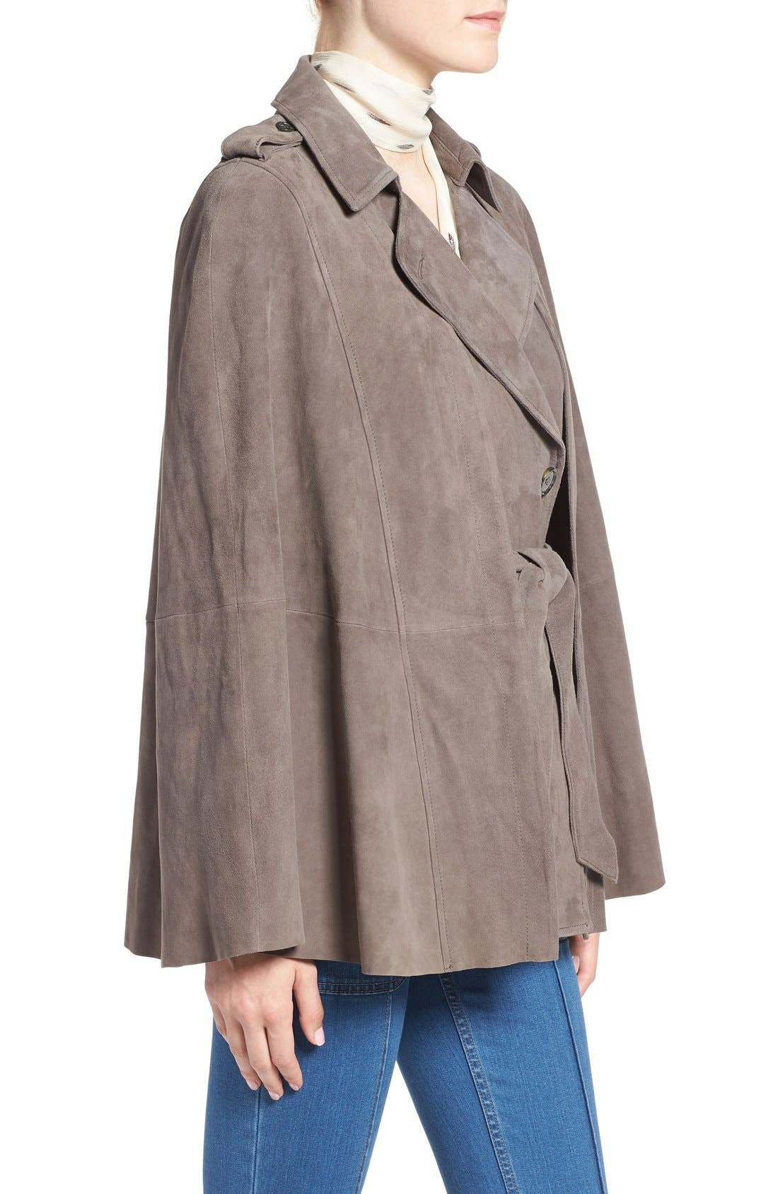 Alternate Image 4  - Olivia Palermo + Chelsea28 Suede Trench Vest with Removable Cape
