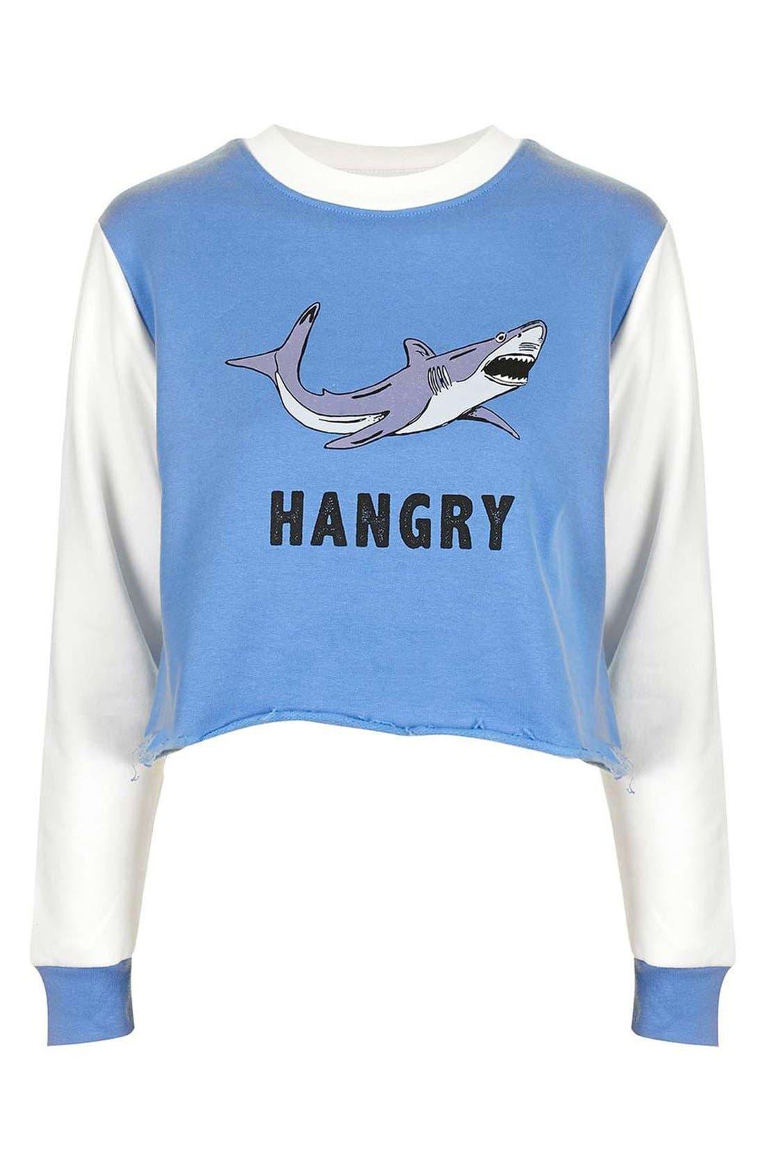 Alternate Image 5  - Topshop by Tee & Cake 'Hangry' Graphic Crop Colorblock Sweatshirt