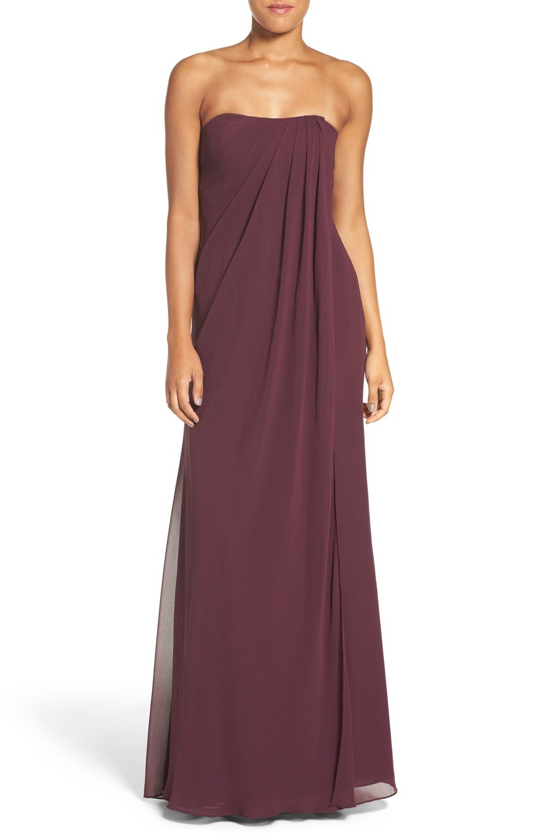 Alternate Image 1 Selected - Jenny Yoo 'Raquel' Front Slit Strapless Chiffon Gown