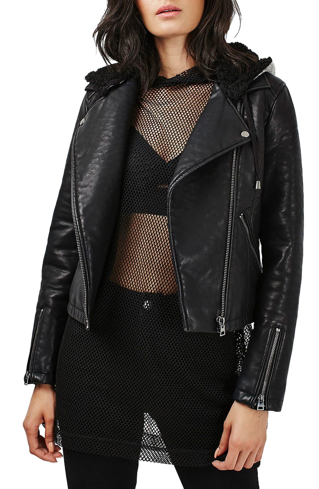 Main Image - Topshop Maggie Faux Leather Moto Jacket with Faux Fur Lined Hood