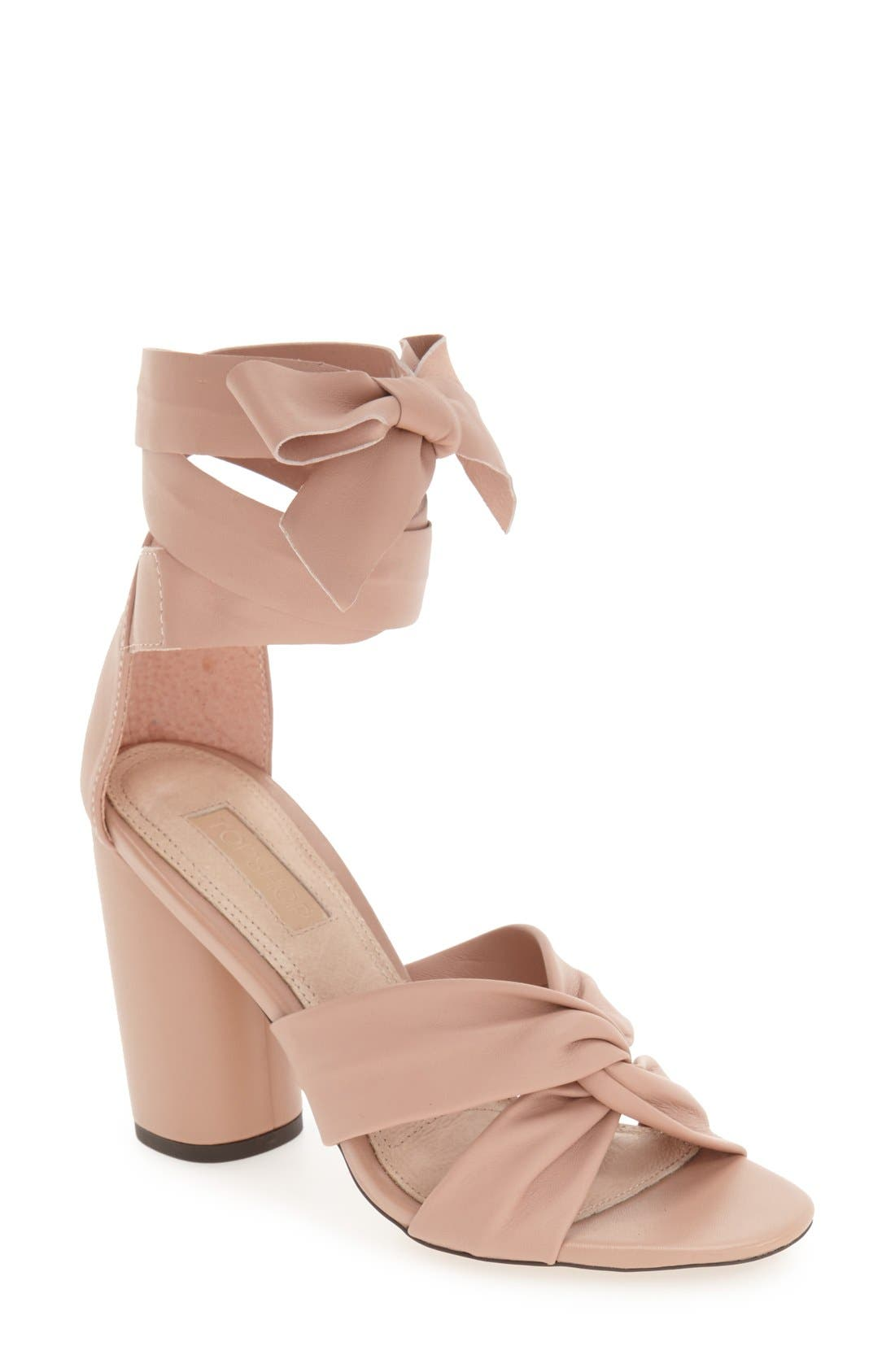 Alternate Image 1 Selected - Topshop 'Rosetta' Soft Knot Wraparound Sandal (Women)