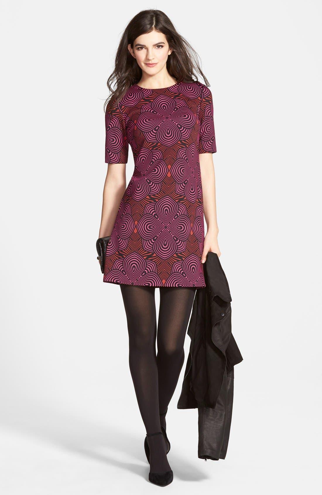 Alternate Image 2  - Taylor Dresses Graphic Print Scuba Shift Dress (Online Only)