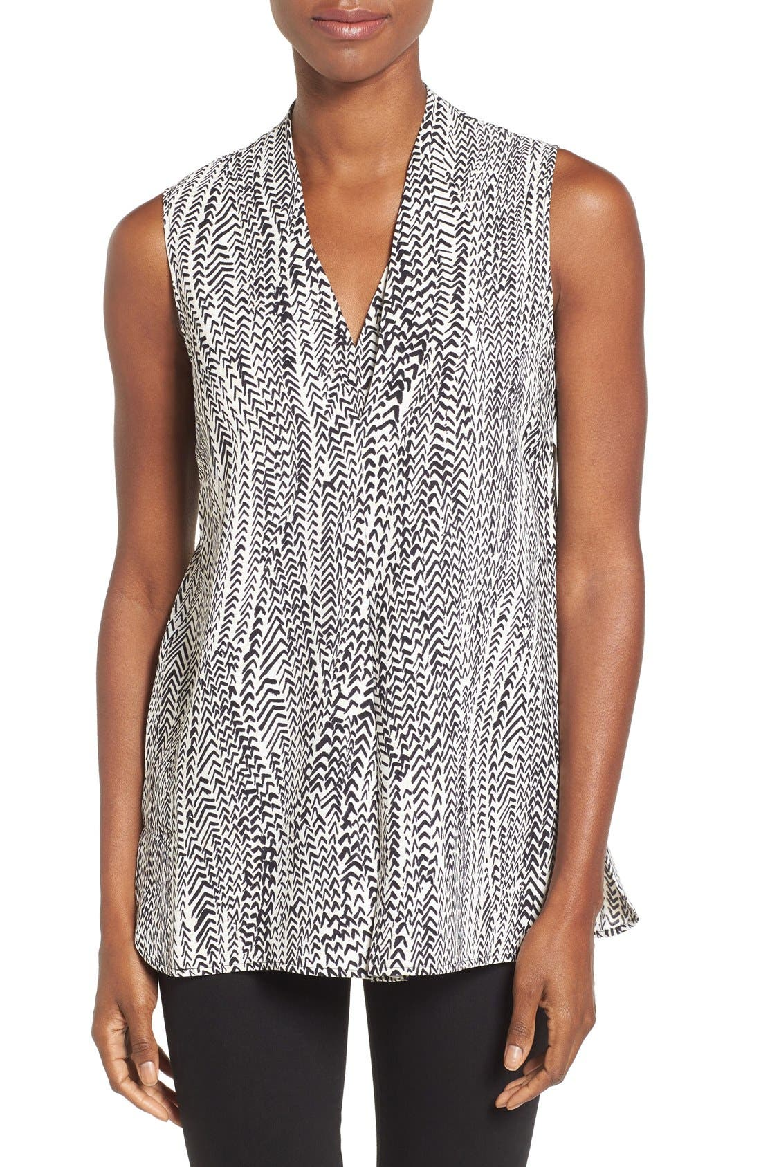 Main Image - NIC+ZOE 'In Stitches' Print Sleeveless V-Neck Top