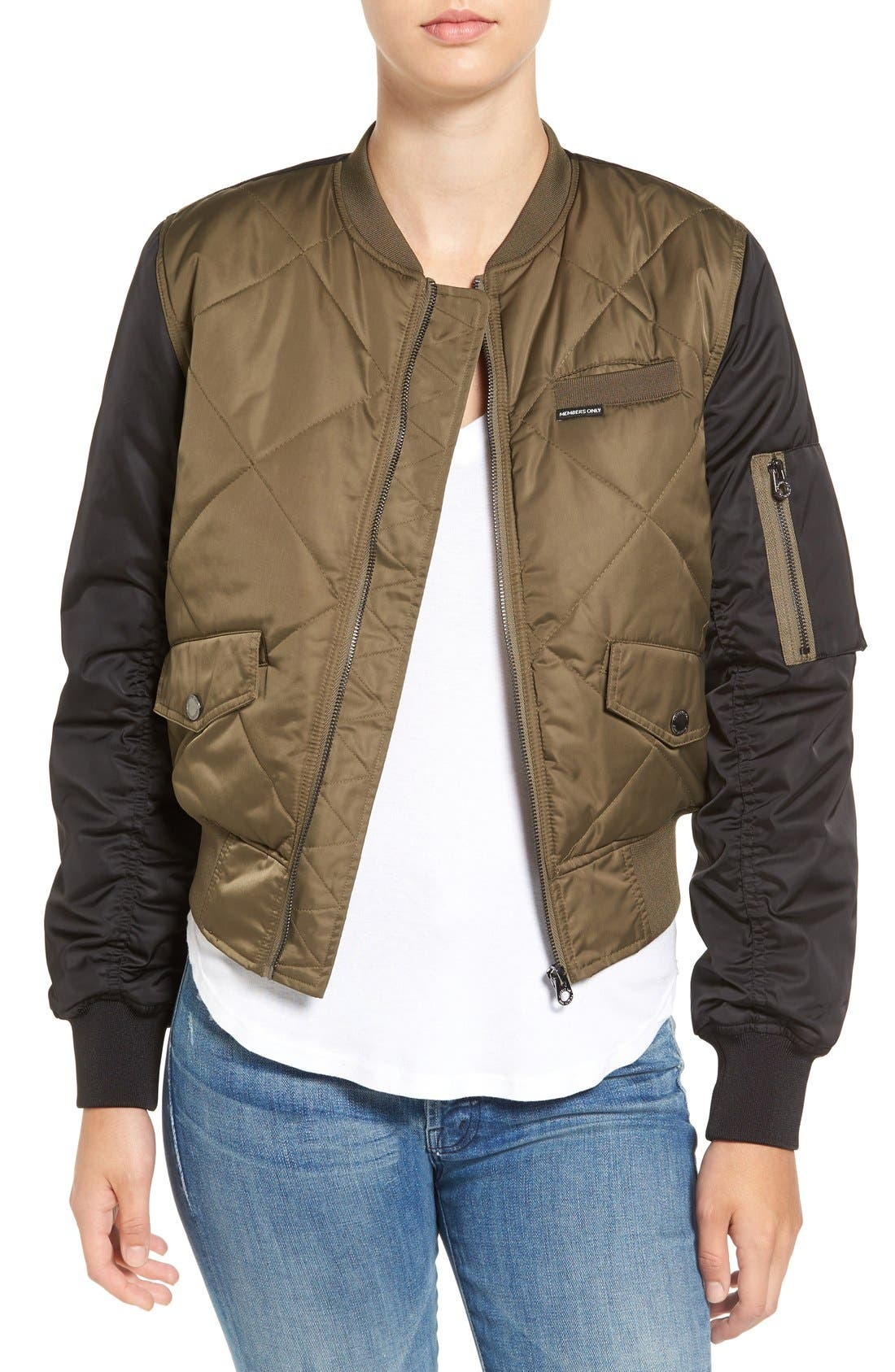 Main Image - Members Only Quilted Two-Tone Bomber Jacket