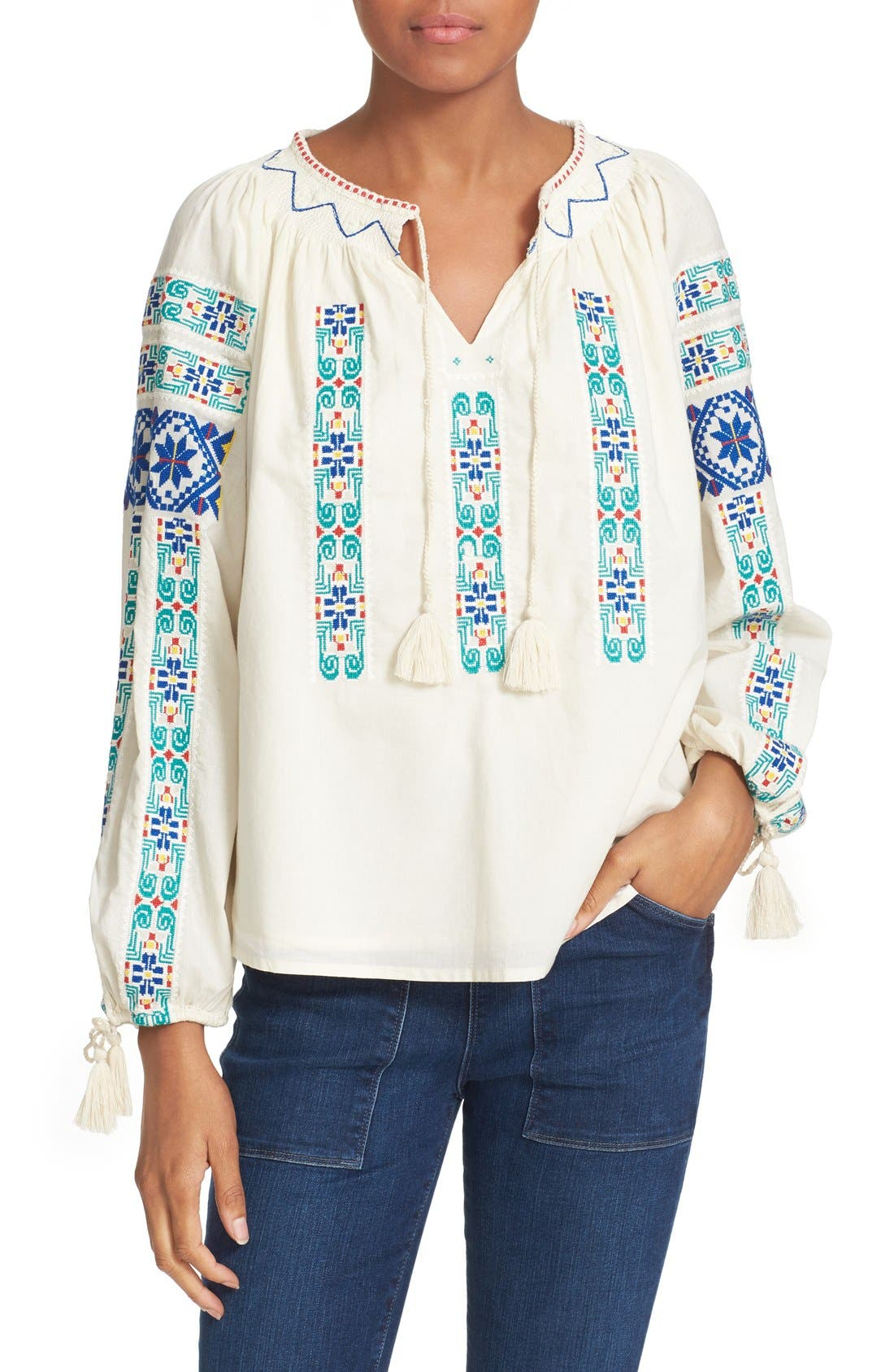 Alternate Image 1 Selected - Sea Embroidered Peasant Blouse