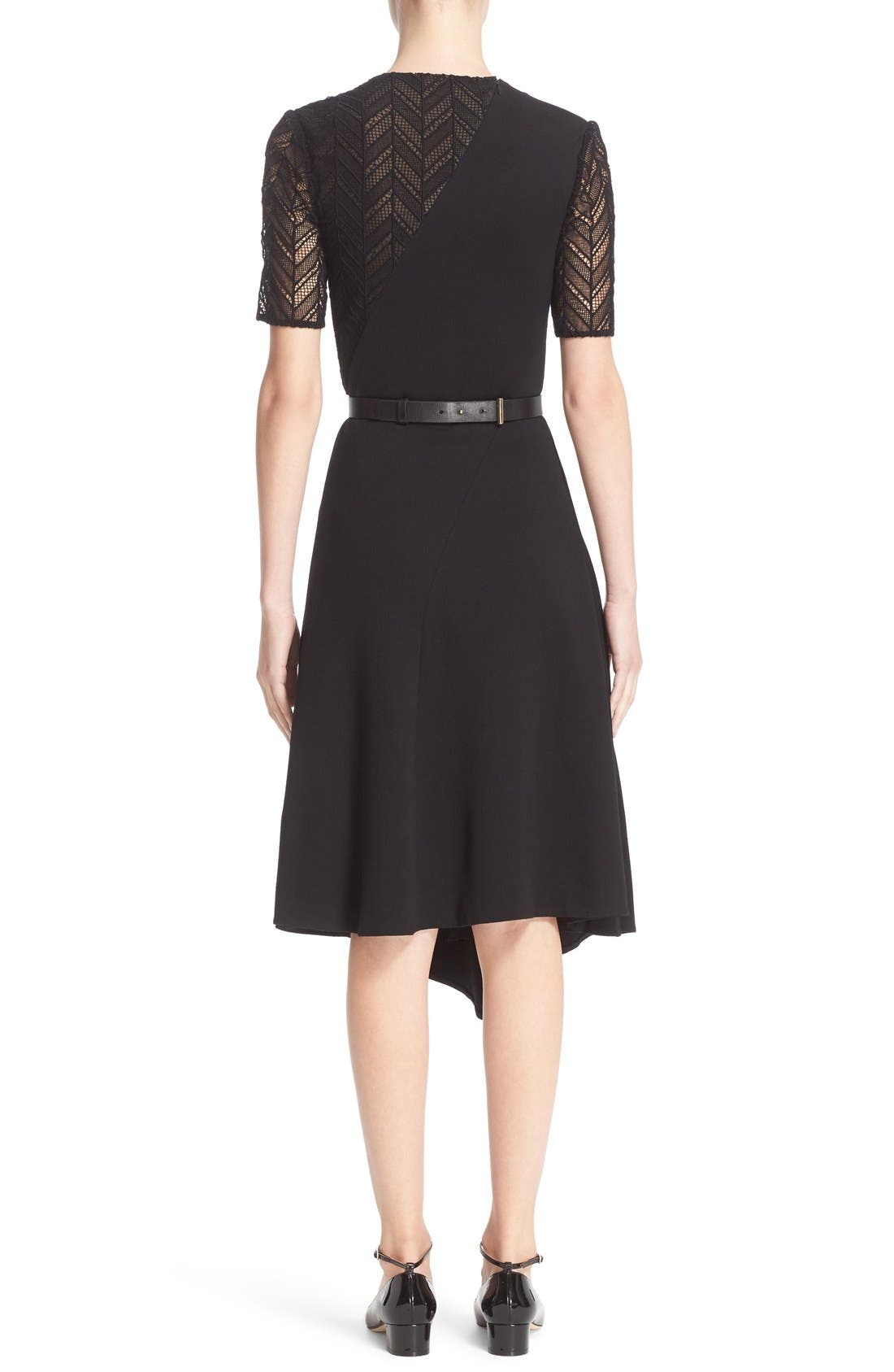 Alternate Image 2  - Jason Wu Chevron Lace & Ponte Knit Asymmetric Dress