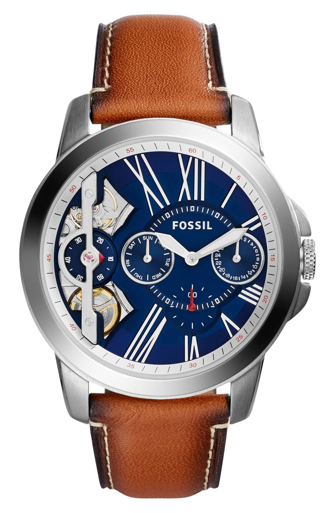 Fossil 'Grant' Chronograph Leather Strap Watch, 44mm