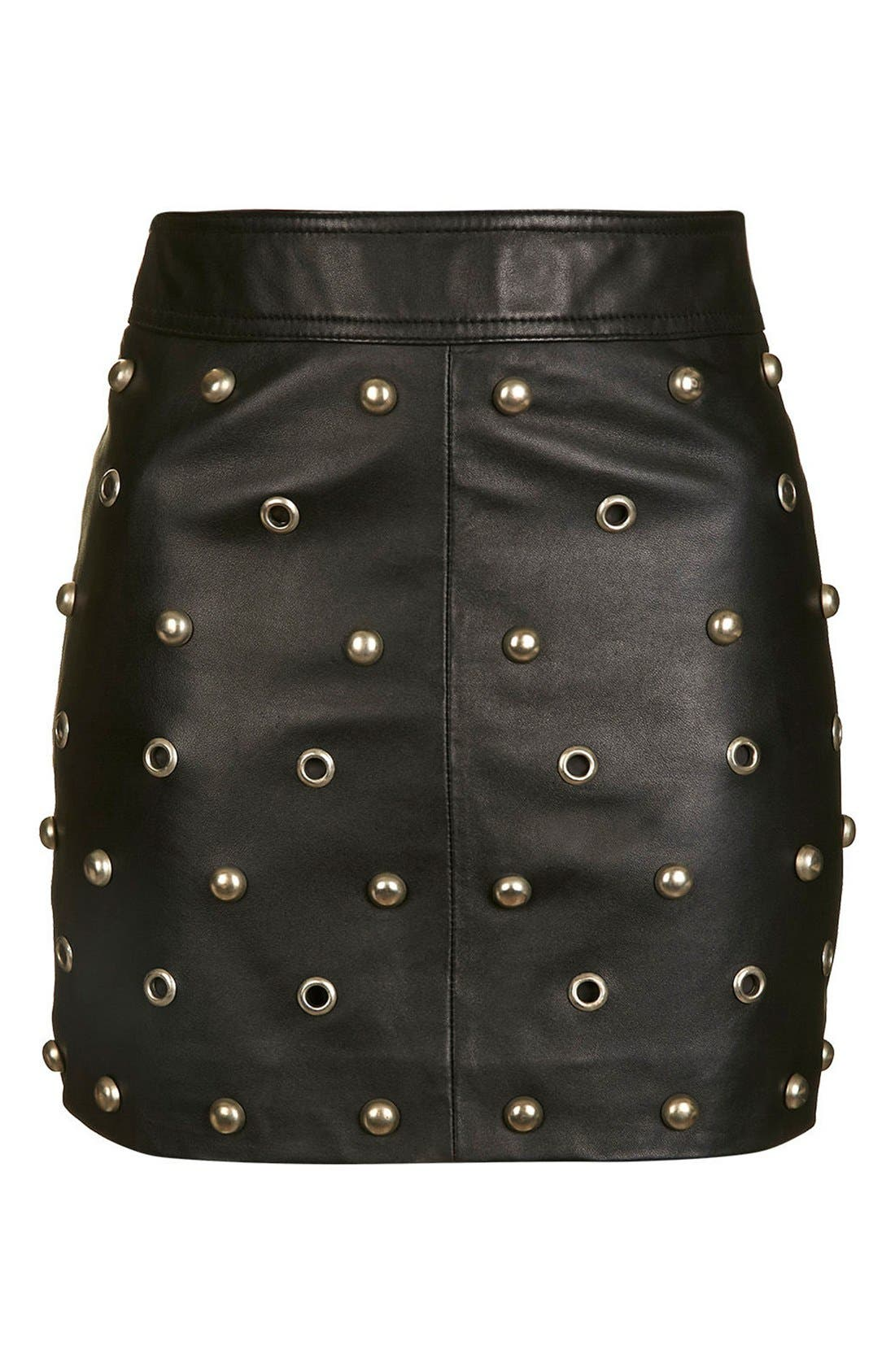 Alternate Image 4  - Topshop Stud & Grommet Leather Miniskirt