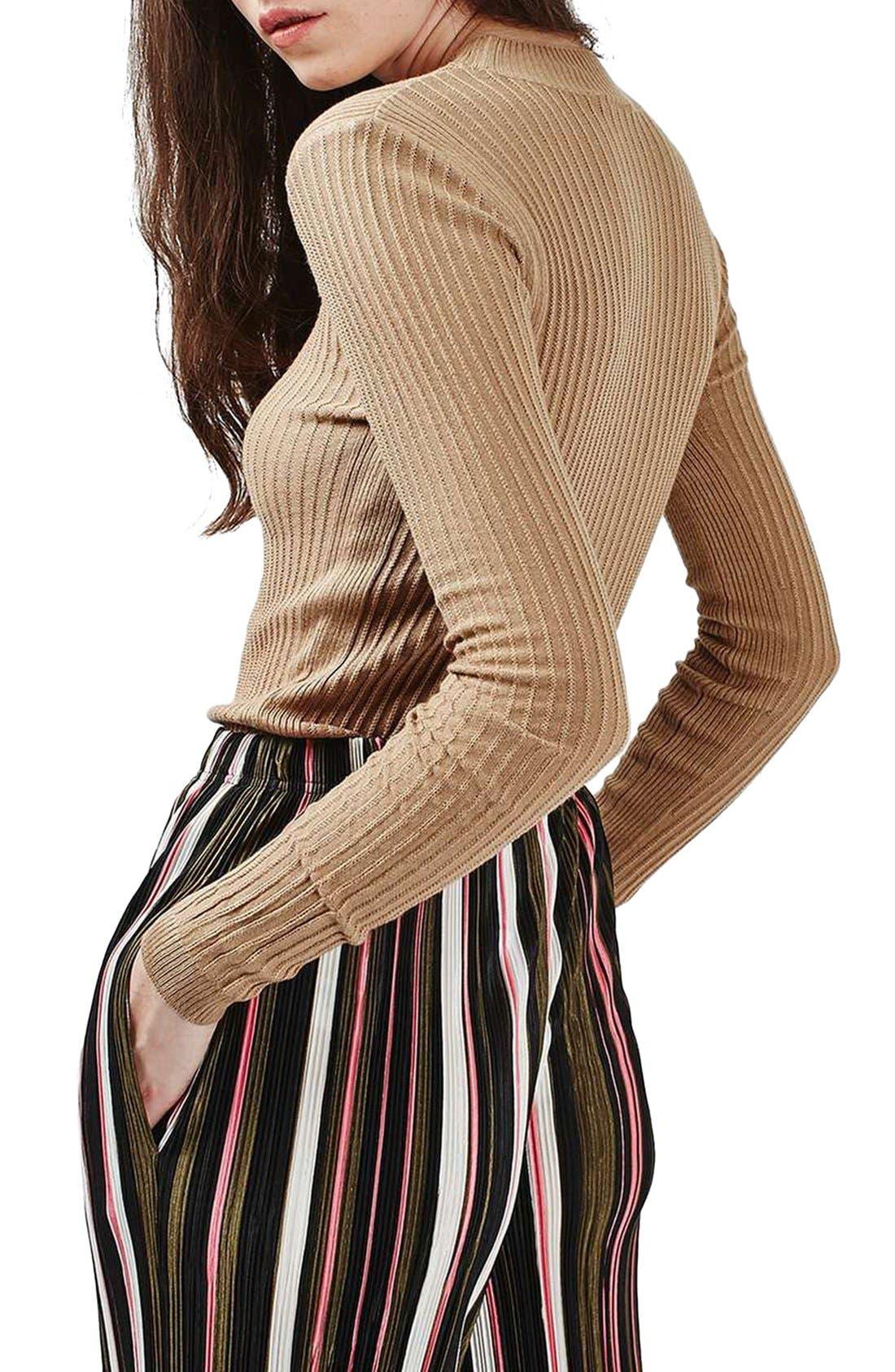 Alternate Image 3  - Topshop Textured Stripe Mock Neck Sweater