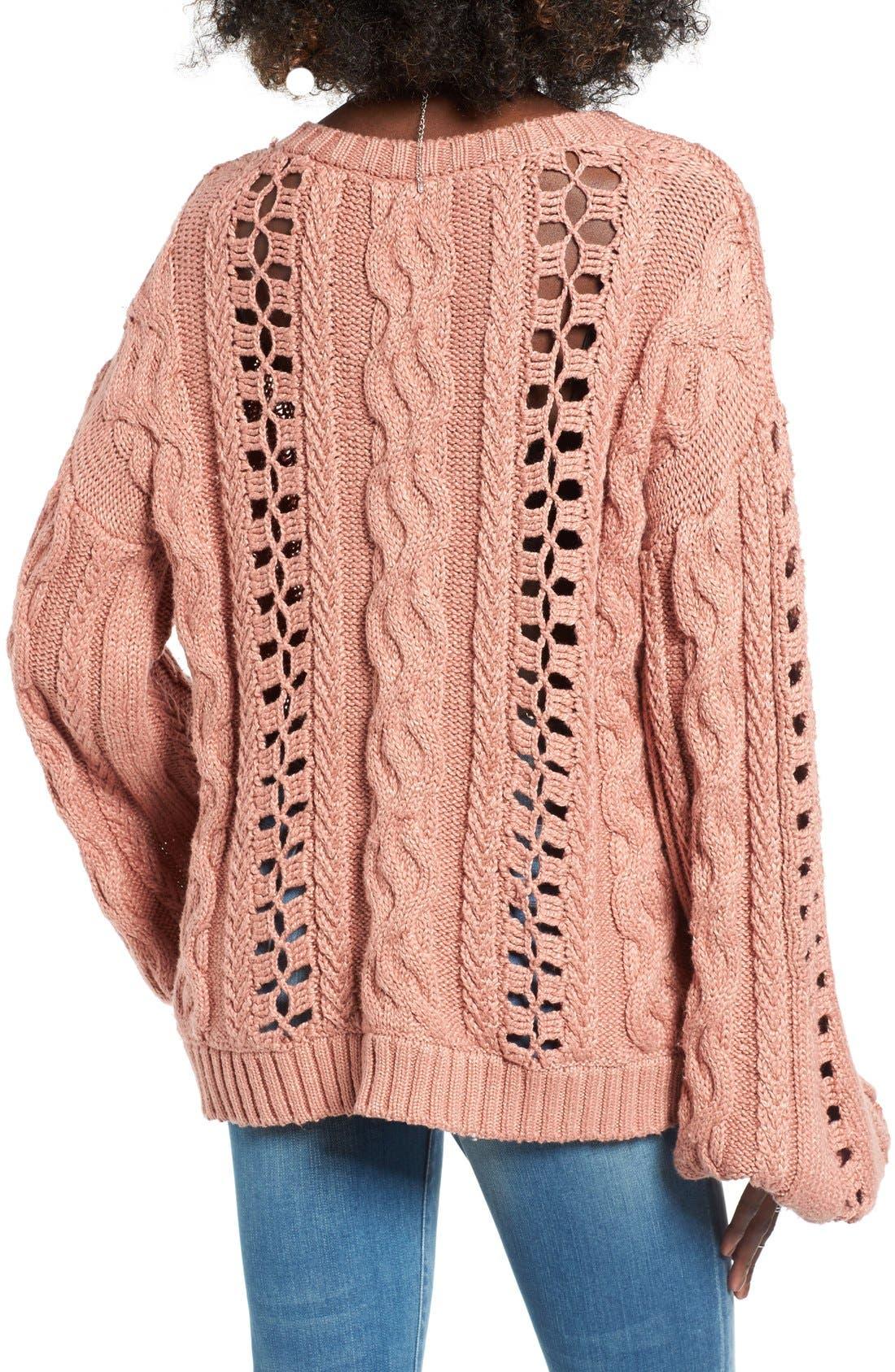 Alternate Image 2  - For Love & Lemons Wythe Openwork Bell Sleeve Sweater