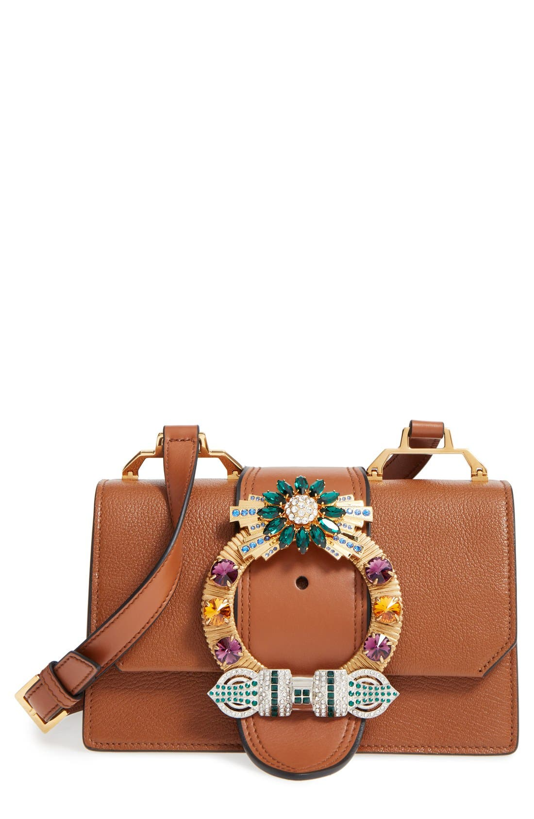Alternate Image 1 Selected - Miu Miu 'Small Madras' Crystal Embellished Leather Shoulder Bag
