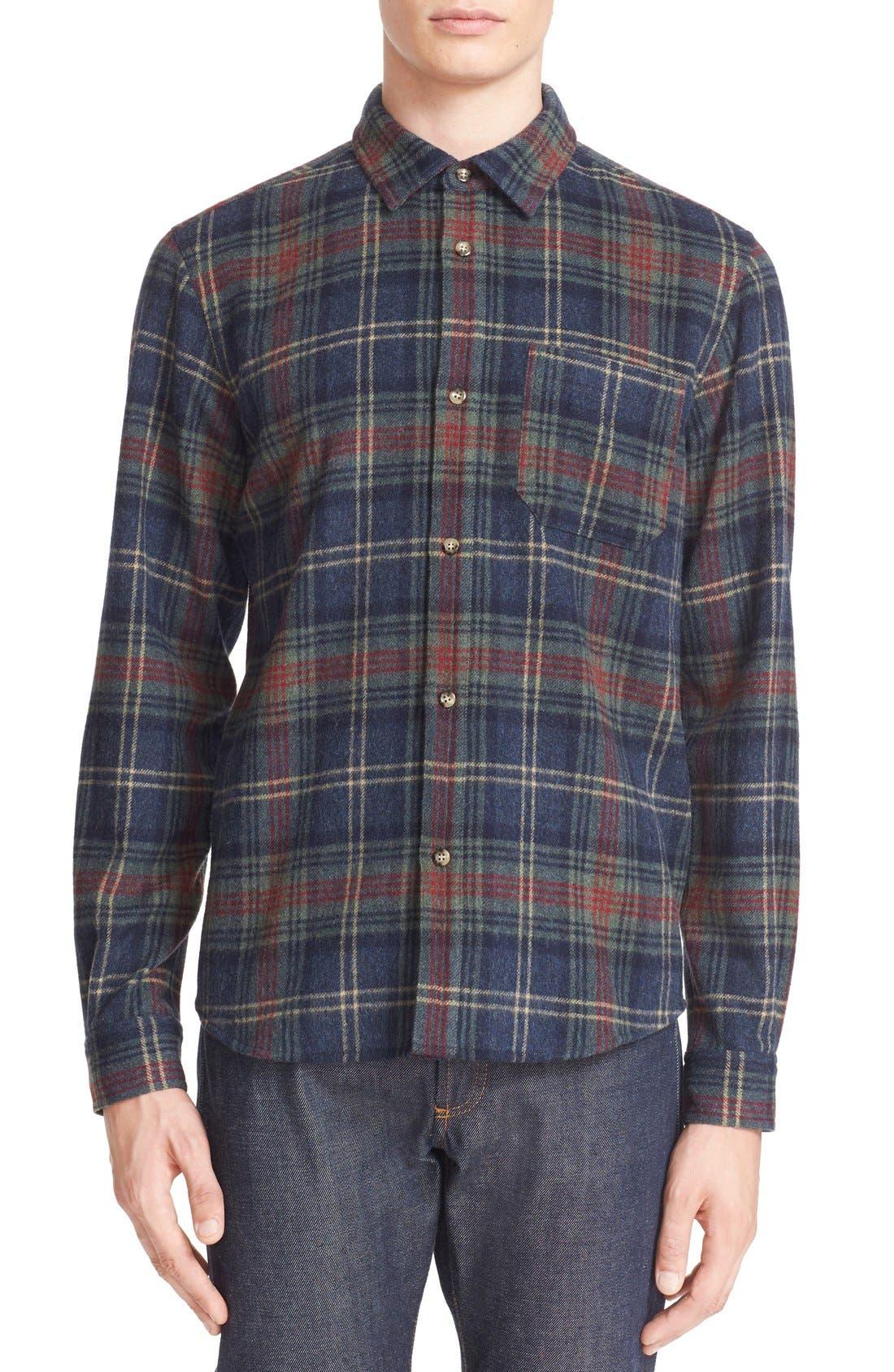 A.P.C. Trevor Plaid Wool Blend Flannel Shirt
