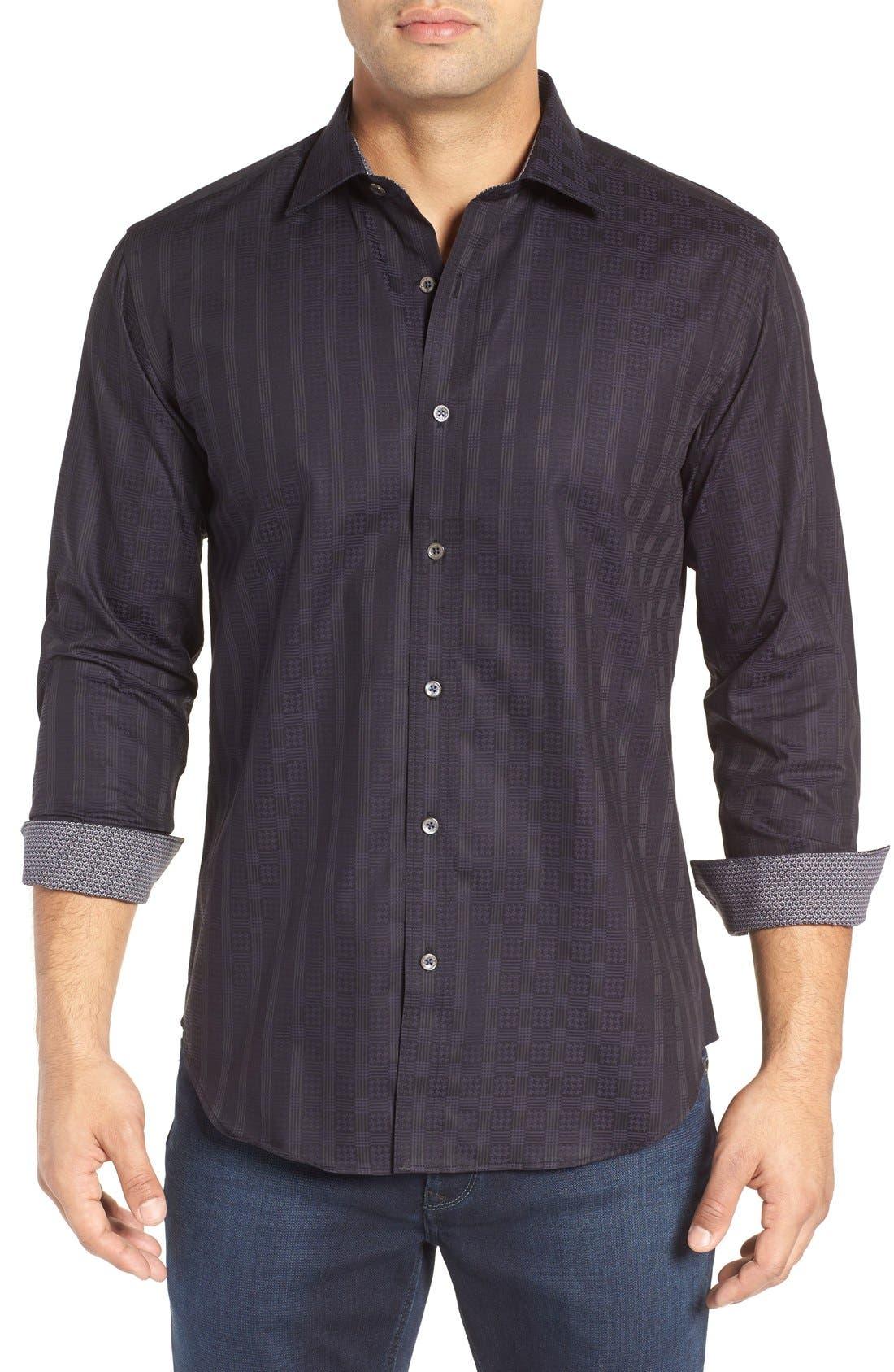 BUGATCHI Shaped Fit Tonal Plaid Sport Shirt