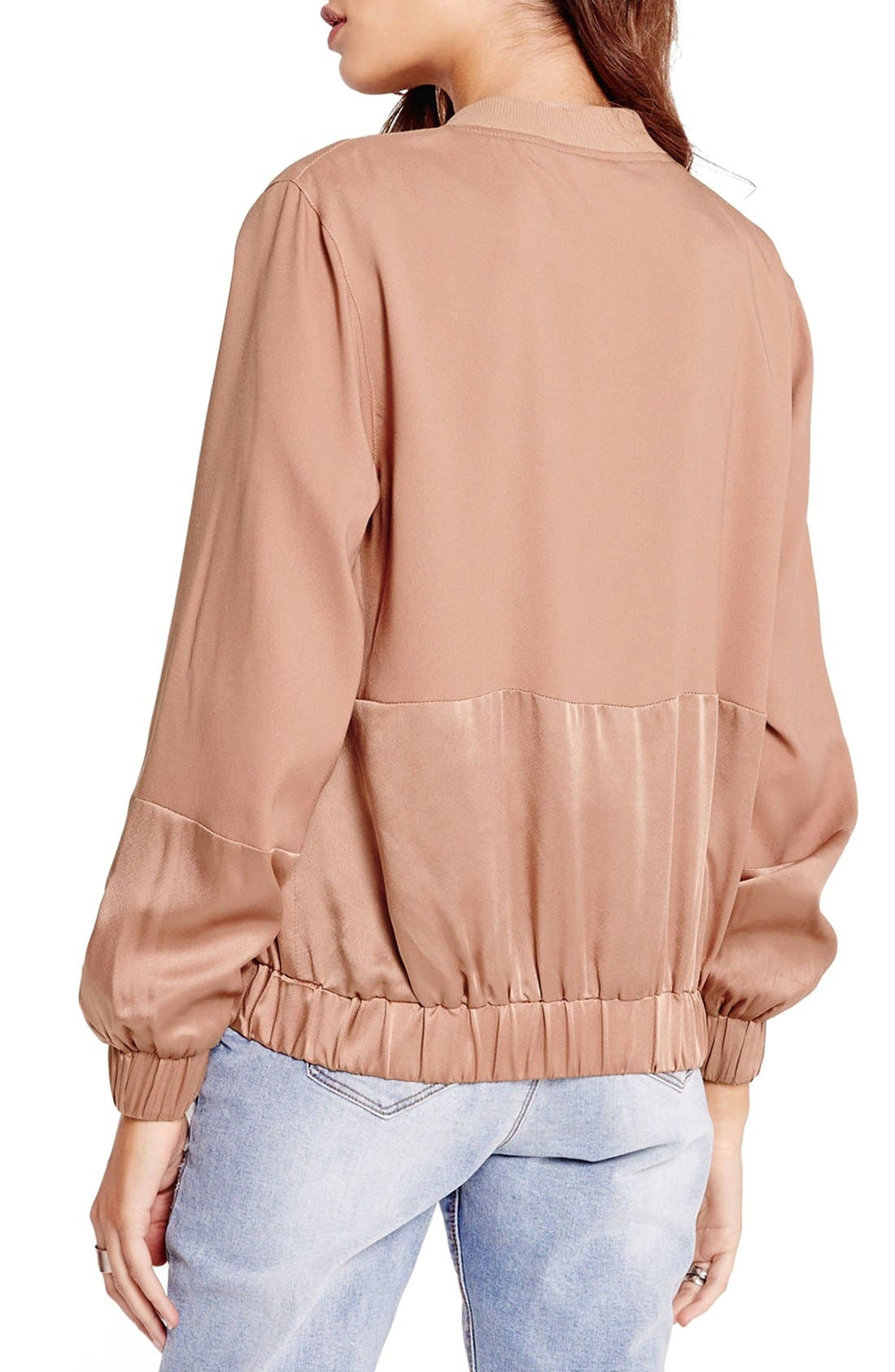 Alternate Image 3  - Missguided Tonal Satin Bomber Jacket