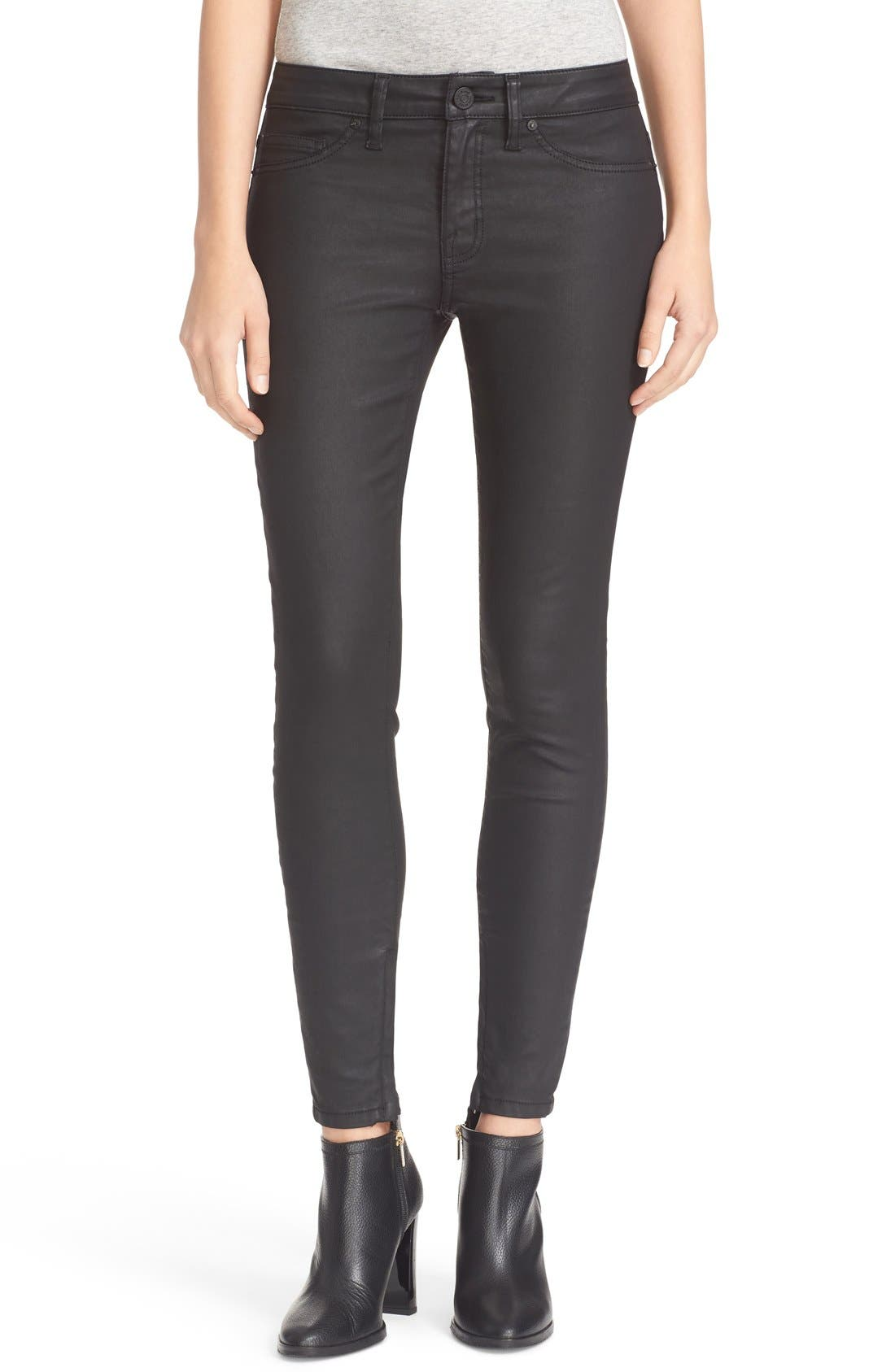 Alternate Image 1 Selected - Joie Ankle Zip Super Skinny Jeans (Black Diamond)