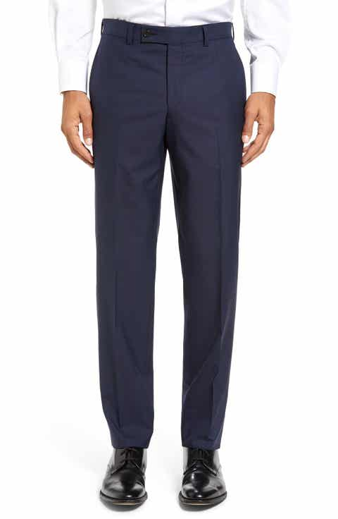 Ted Baker London Jefferson Flat Front Solid Wool Trousers