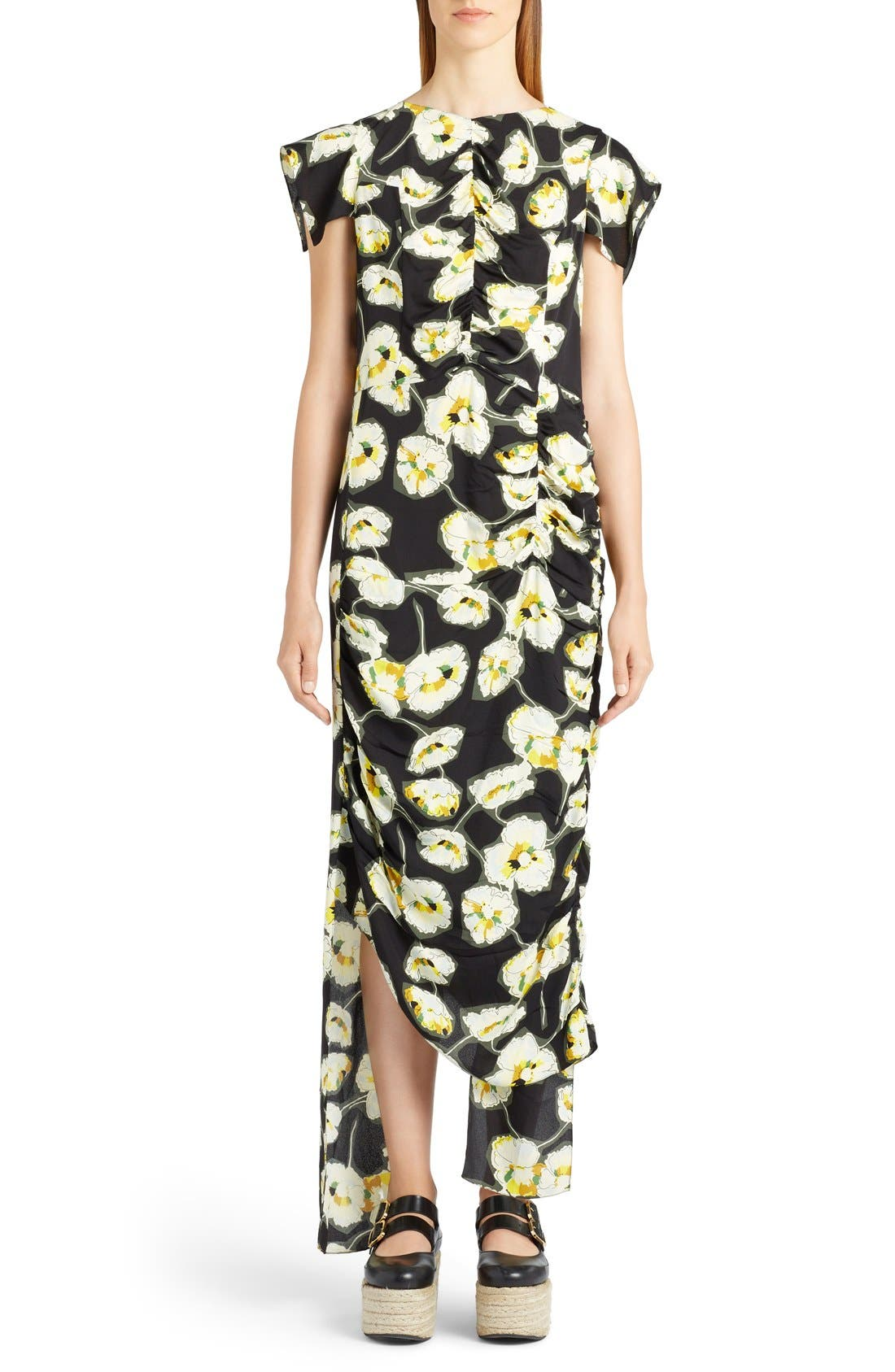 MARNI Whisper Print Asymmetrical Dress