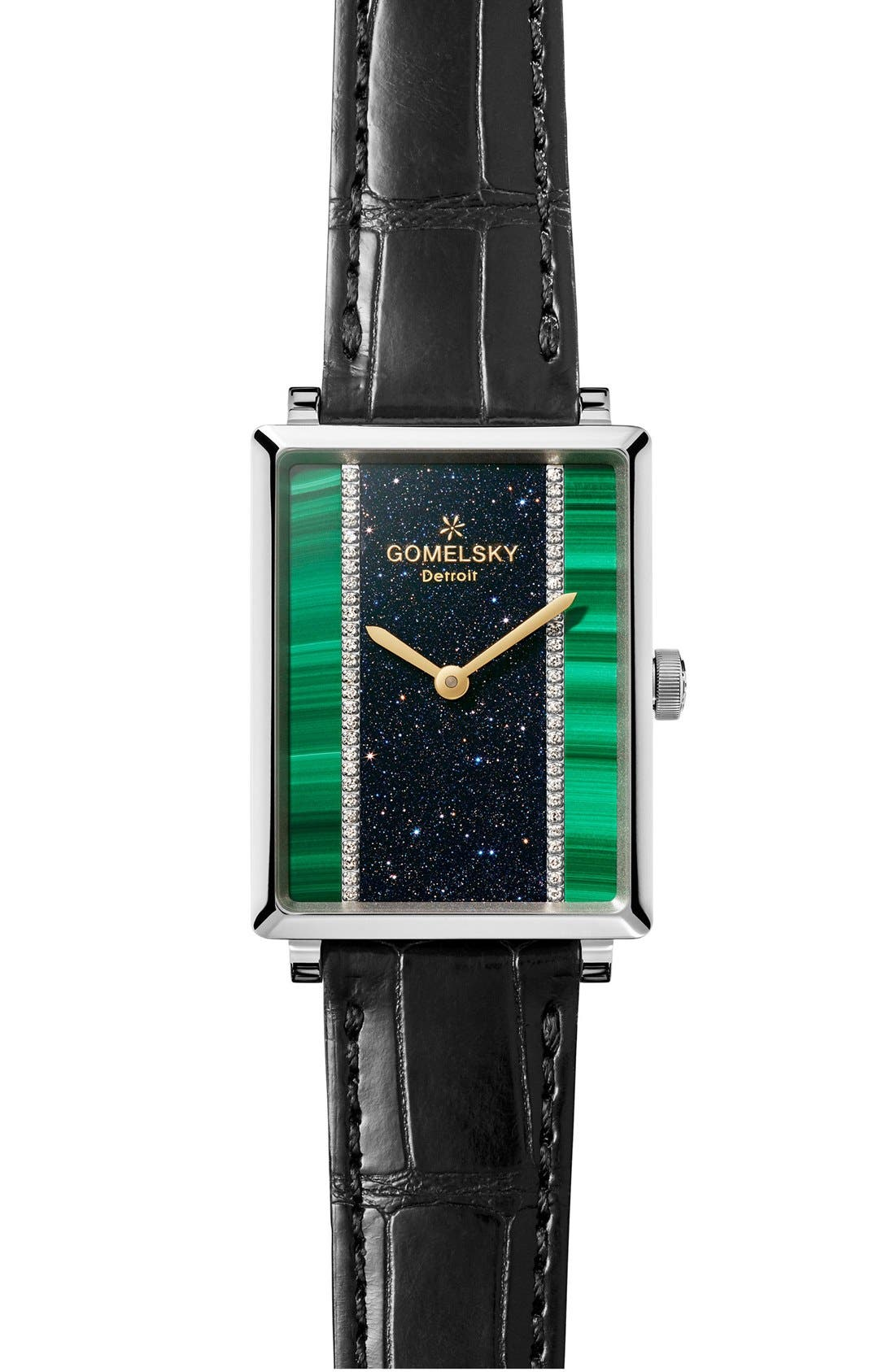GOMELSKY The Shirley Fromer Diamond Alligator Strap Watch,