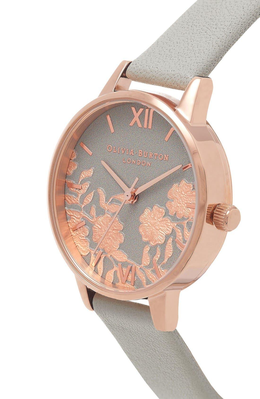 Alternate Image 3  - Olivia Burton Lace Detail Leather Strap Watch, 30mm