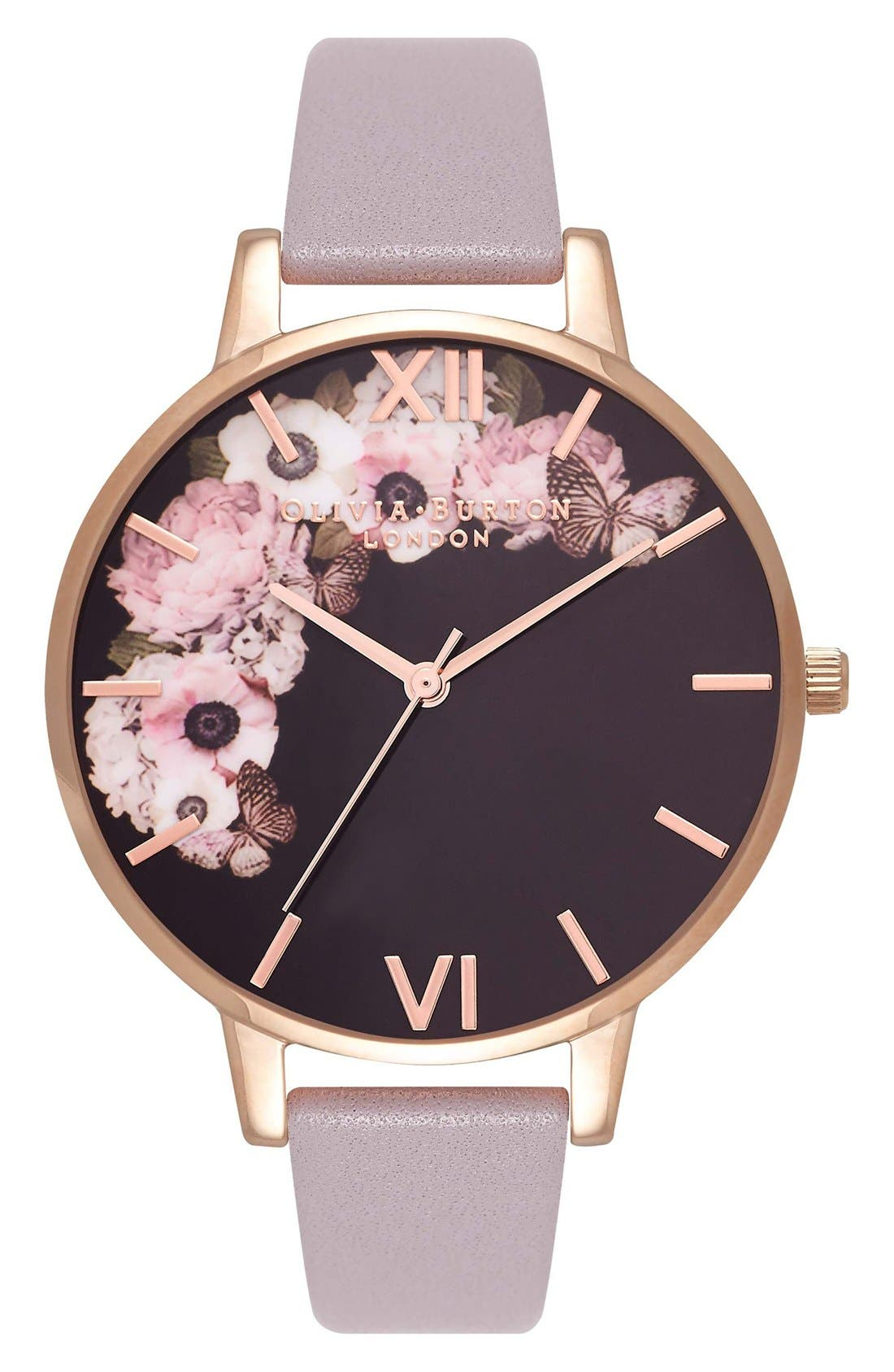 Alternate Image 1 Selected - Olivia Burton Winter Garden Leather Strap Watch, 38mm