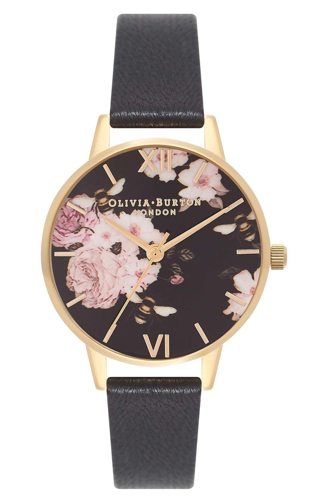 Main Image - Olivia Burton Flower Show Leather Strap Watch, 30mm