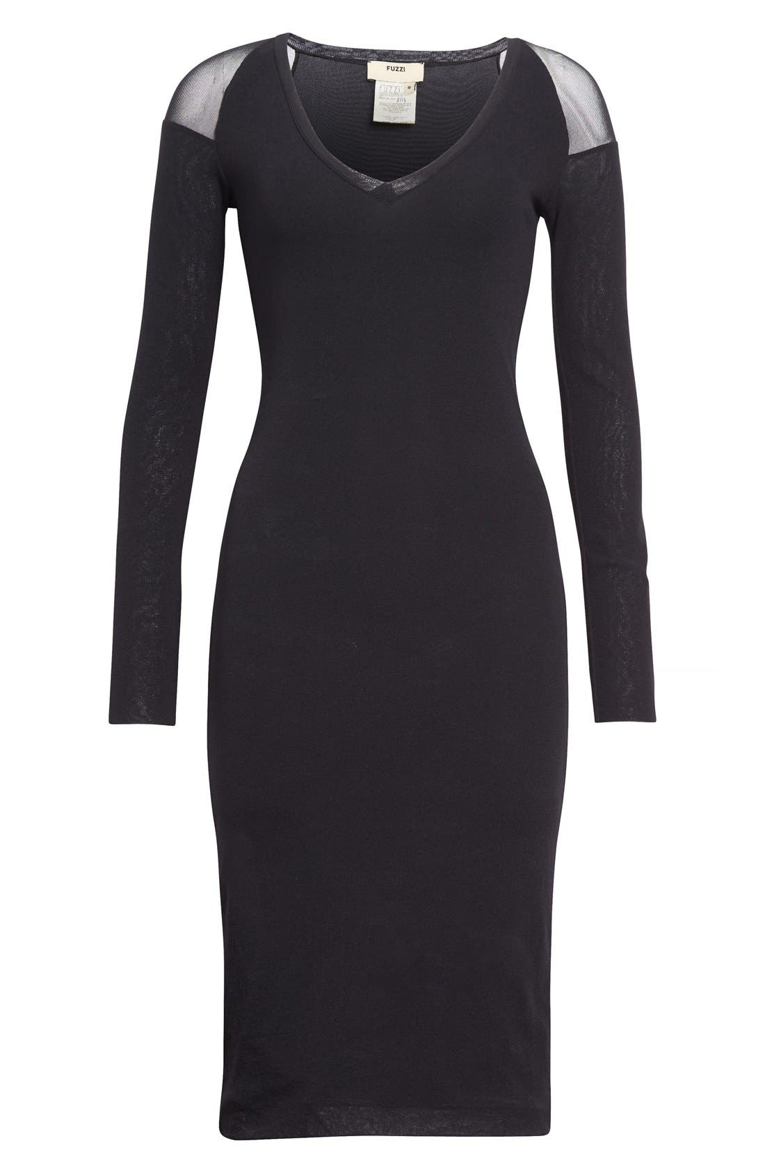 Alternate Image 4  - Fuzzi Illusion Cold Shoulder Sheath Dress