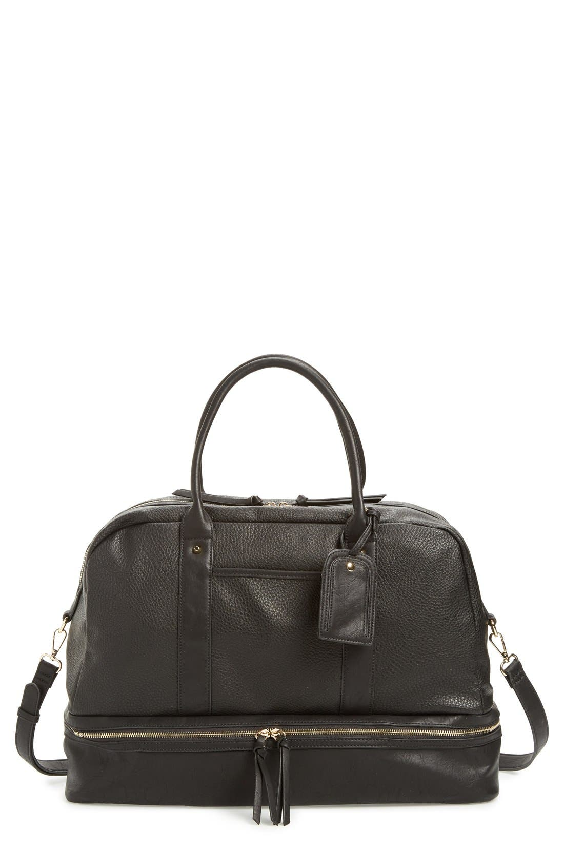 Alternate Image 1 Selected - Sole Society 'Mason' Faux Leather Weekend Bag