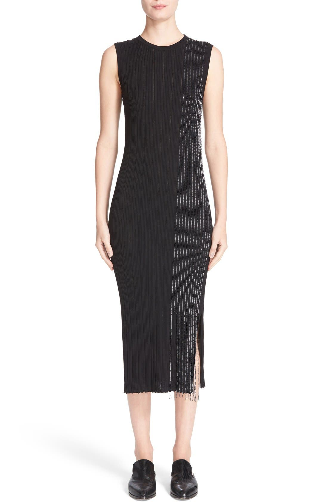 GREY JASON WU Beaded Knit Midi Dress