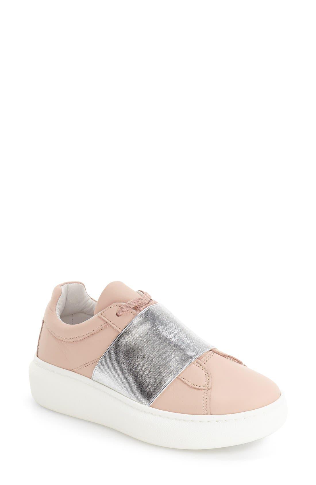 Alternate Image 1 Selected - Topshop Turin Metallic Strap Platform Sneaker (Women)